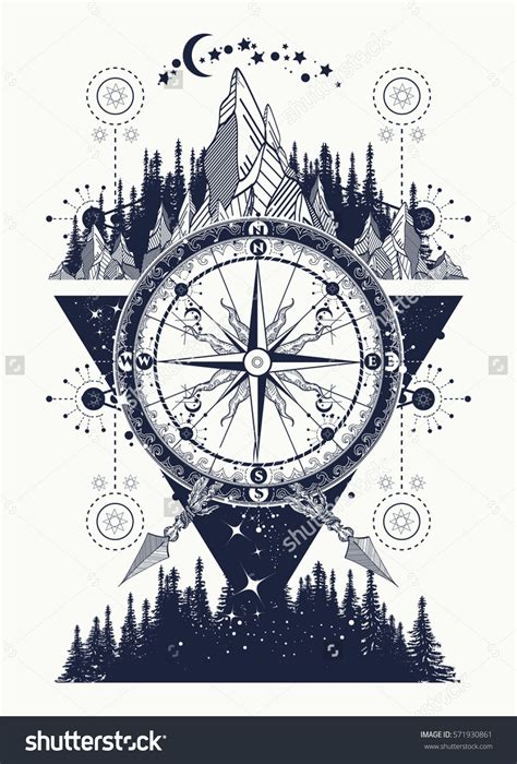 compass tattoo art mountains and antique compass tattoo art adventure