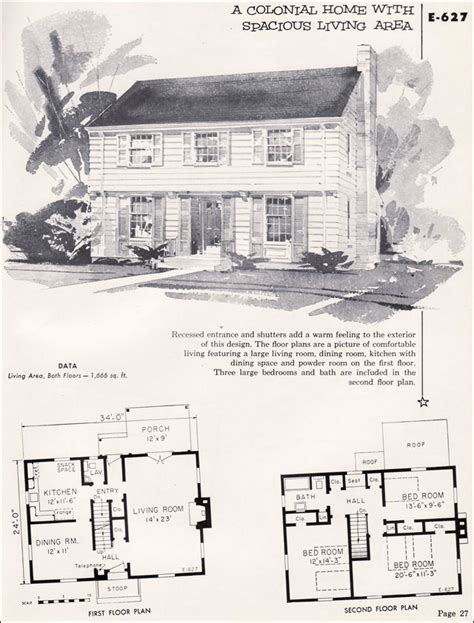 Cottages House Plans by 1955 Garrison Colonial National Plan Service