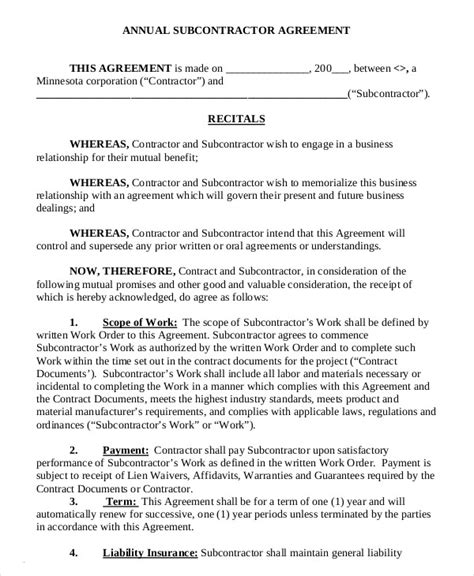 subcontractors agreement template subcontractor agreement 11 free word pdf documents