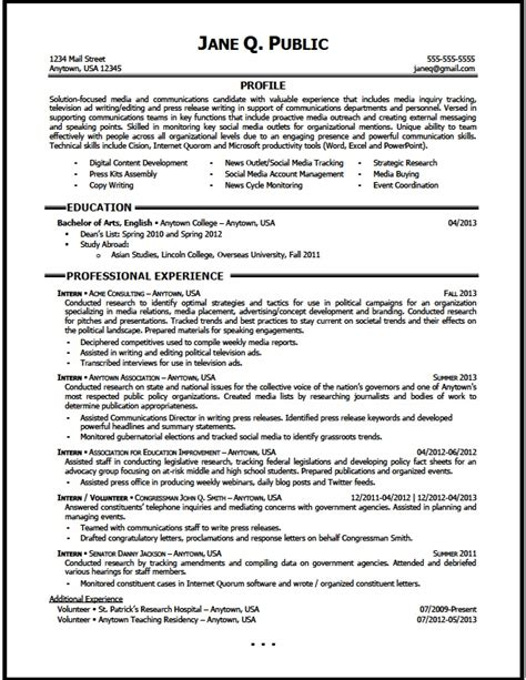 Communication Resume by Media And Communications Resume Sle The Resume Clinic