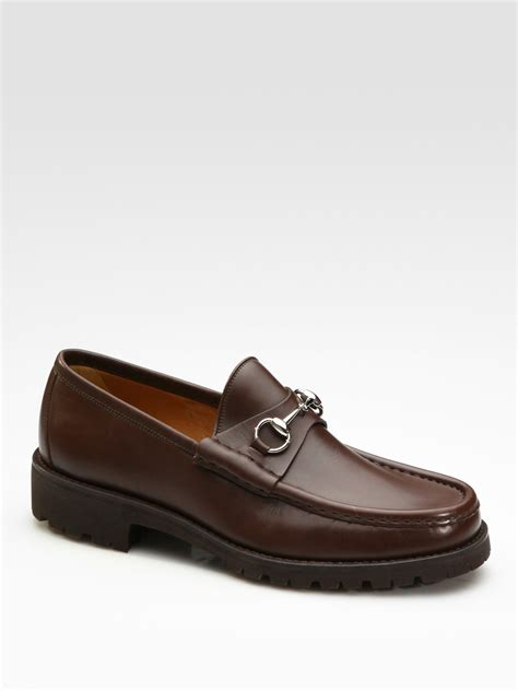 loafers for gucci gucci loafer in black for brown lyst