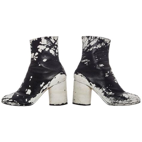 tabi boots maison martin margiela leather painted tabi boots circa