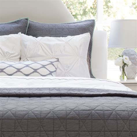 gray quilt bedding the diamond box stitch charcoal grey quilt sham crane
