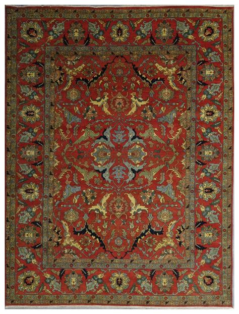 Low Priced Area Rugs 12x15 Area Rug Rust Serapi Floral Knotted Lowest
