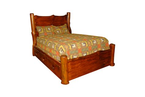 Rustic Pine Log Slab Live Edge Bed Frame King Queen Full Or Rustic King Bed Frame