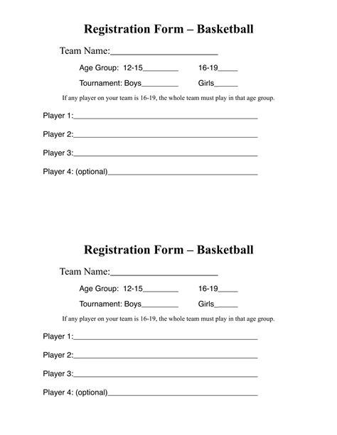 10 Basketball Registration Form Sles Basketball C Registration Form Template