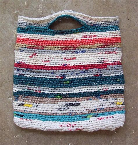 crochet pattern plastic bag tote crocheted reusable grocery bag using grocery bags