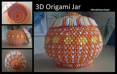 3d Origami Vase Pattern - 3d origami jar by bloodypaperangel on deviantart