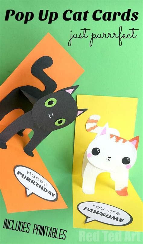 3d I You Pop Up Card Template by 3d Cat Card Diy Cat Cards Template And 3d