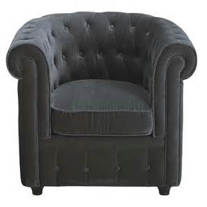 fauteuil velours gris capitonn 233 chesterfield maisons du