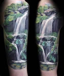 mountain scene tattoo 70 waterfall tattoo designs for men glistening ink ideas