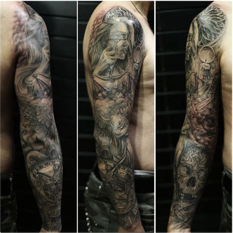 tattoo prices for full sleeve full sleeve bng style tattoo justitia guardian angel