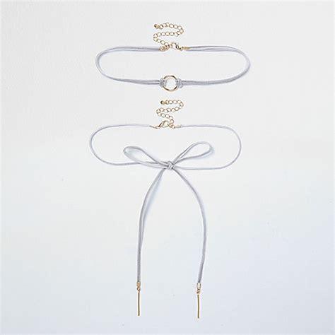Bow Velvet Choker grey velvet bow choker bolo necklace set necklaces