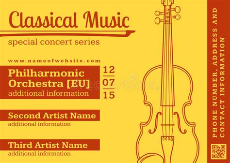 classical music concert violin horizontal music flyer