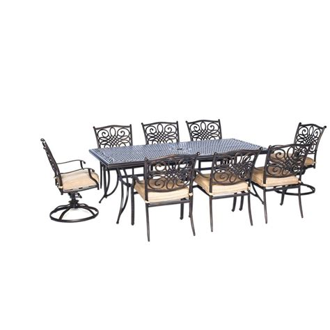 vgmgvista renava vista 7 pc outdoor dining table hanover traditions 9 pc aluminium rectangular patio dining set with six dining chairs two