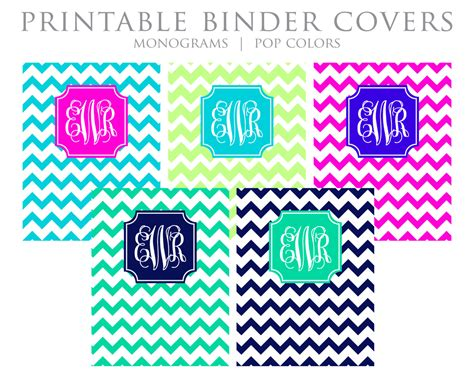 printable chevron binder covers printable binder covers monogram chevron blue by