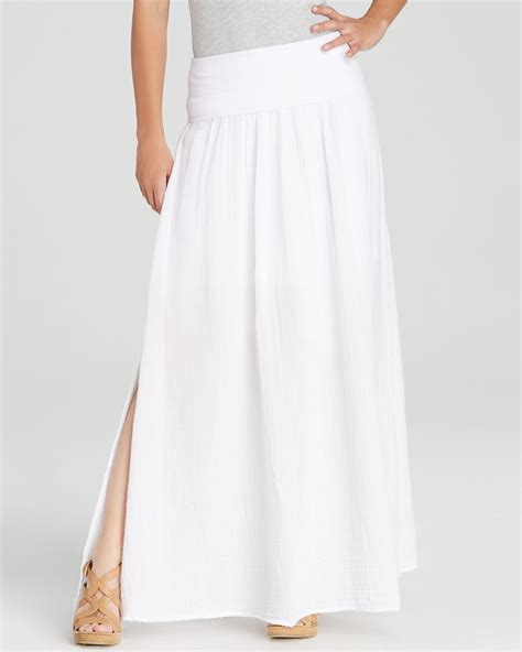 three dots fold linen maxi skirt in white lyst