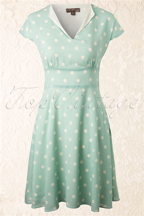 Nl Dress Polka 40s amalfi polka dot dress in mint green