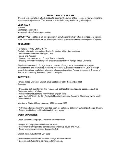 Resume Exles Without Experience Sle Resume For Fresh Graduate Without Work Experience Experience Resumes