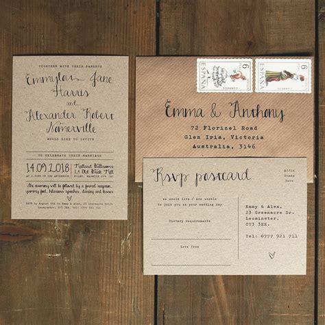 Wedding Invitations Kraft Paper by Calligraphy Kraft Wedding Invitation Feel Wedding