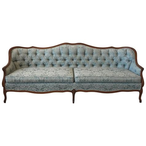 damask sofa 1940s french blue damask tufted sofa with oak frame border