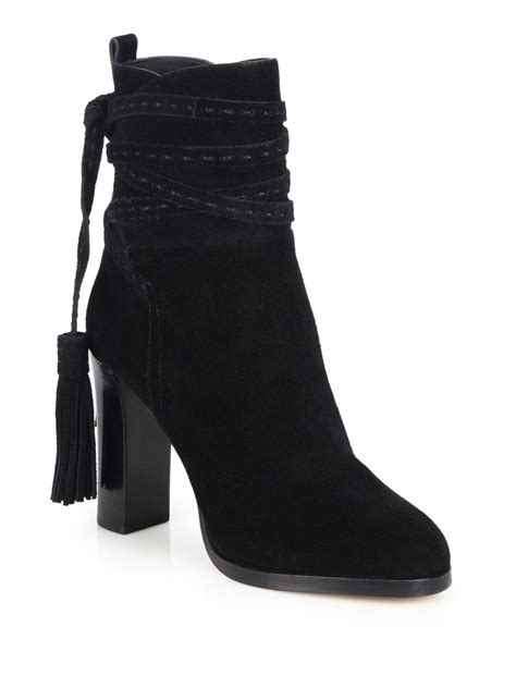 michael kors palmer suede tassel ankle boots in black lyst