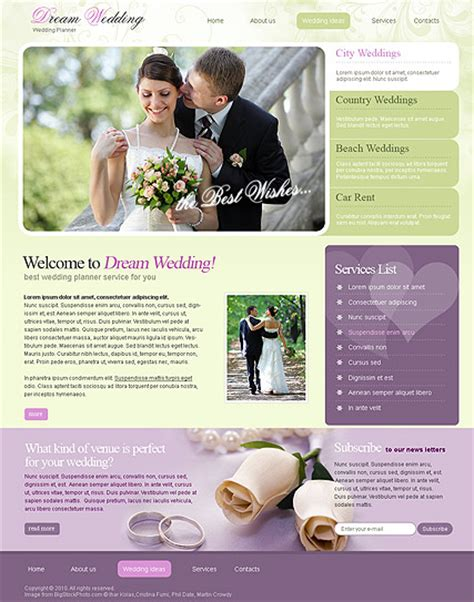 Wedding Planning Websites by Wedding Planner Html Website Template Best Website Templates