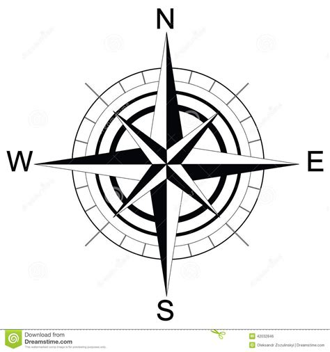 black compass black and white compass raster stock illustration image