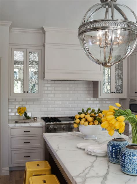 yellow and gray kitchen transitional kitchen grant k gibson mirrored upper kitchen cabinet doors anyone