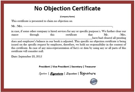 statement of no objection formal certificate of origin template and form sles