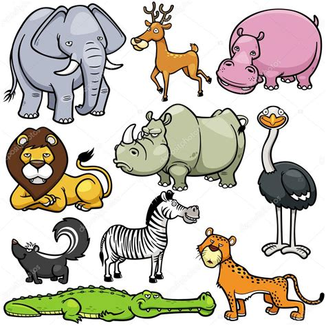imagenes de animales vertebrados animados dibujos animados de animales salvajes vector de stock