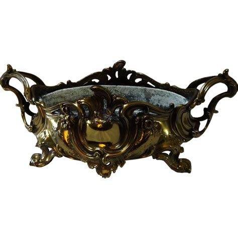 Gold Plated 707 gold plated bronze nouveau centerpiece bowl from