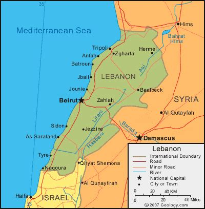 map of lebanon lebanon map and satellite image