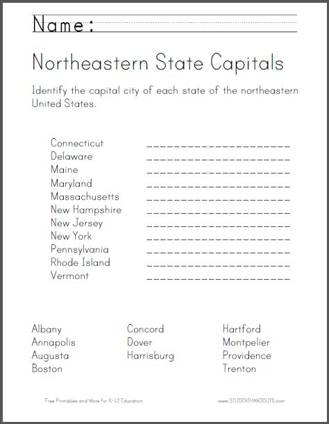 States And Capitals Worksheets by State Capitals Worksheet Quotes