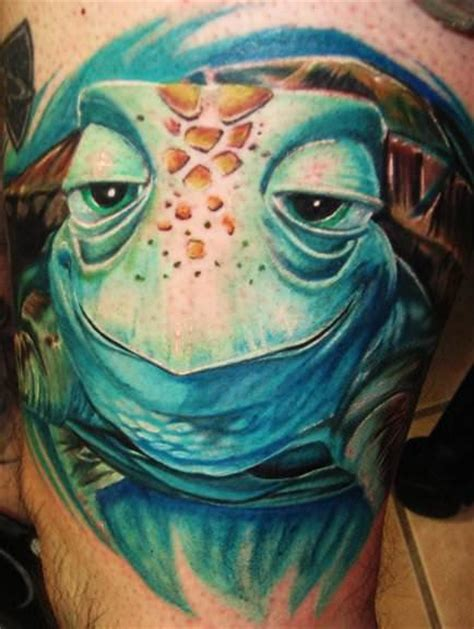 this stunning 3d tattoo is of crush a sea turtle