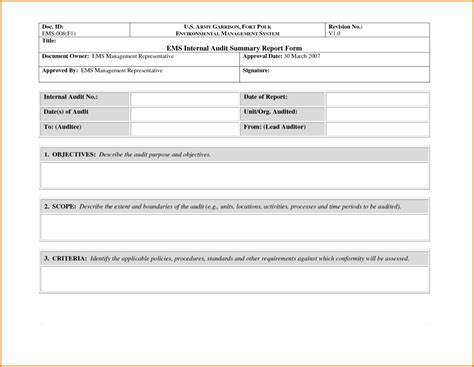 awesome sle of internal audit summary report form with