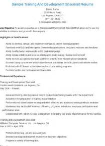 Sample Resume Objectives For Training Specialist by Resume Samples Sample Training And Development Specialist