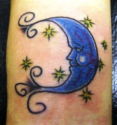 blue moon tattoo designs half moon with tattoos on back neck