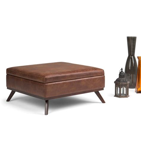 Simpli Home Owen Distressed Saddle Brown Air Leather Ottoman Air