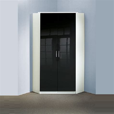 Black Wardrobes For Sale Alton Gloss Black Corner Wardrobe In Alpine White With 2