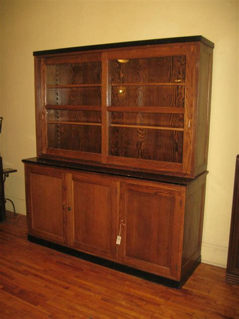 The Vintage Cupboard - antique oak school lab cabinet china bookcase display