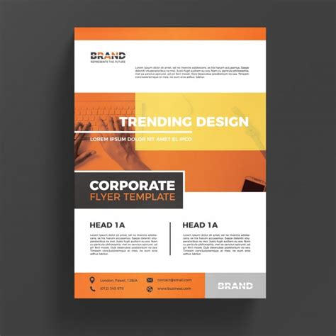 orange corporate business flyer template psd file free