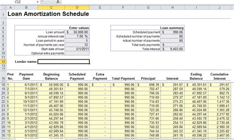 loan schedule template excel loan amortization formula arm calculator free