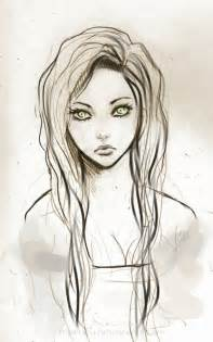 art green eyes hair pretty sketch image