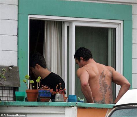 tattoo on kinney s back lady gaga s brawny boyfriend taylor kinney sure has pecs
