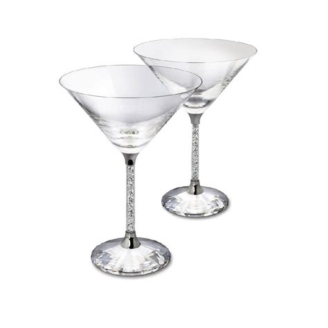 party glasses swarovski crystal pair of diamante filled stem martini cocktail glasses by