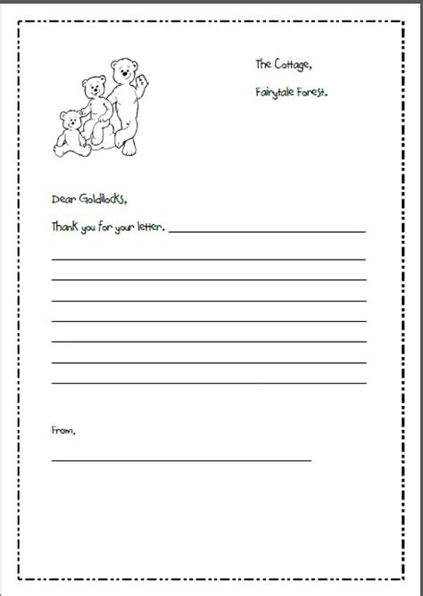 templates for letter writing letter writing template for goldilocks and the 3 bears