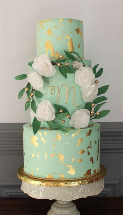 Detailed Wedding Cakes gold detailed mint wedding cake mint wedding cake