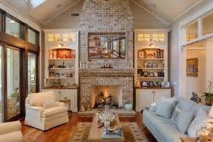 Amazing Bookshelves country living room with stone fireplace amp carpet in