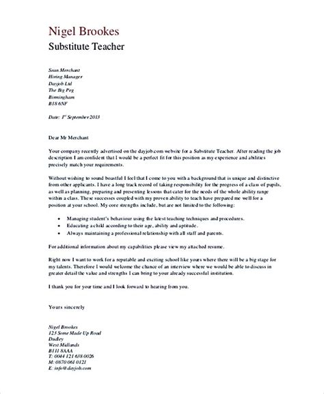 Cover Letter Substitute teaching cover letter exles for successful application